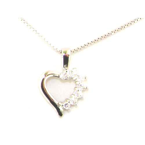 Luxury Solid Sterling 925 Silver Modern Designer Stone Set Heart Pendant & 16