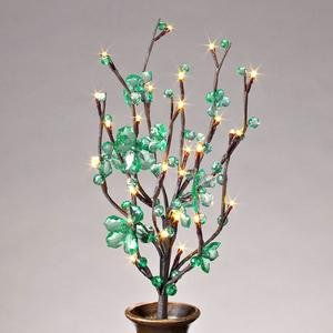 Prelit Art Christmas Trees - Gerson 37889 - 20&quot; Green Acrylic Petal Flower Battery Operated LED Lighted Branch with Timer (30