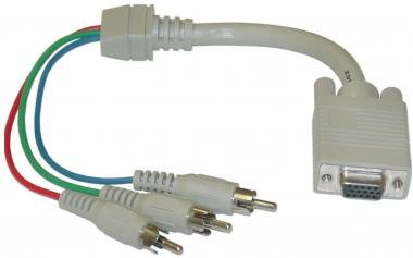 HD15 (VGA) Female to RCA x 3 Male, D / Shield, (HD15 to Component Video) Adaptor, 1 ft -- Not For Computer Use