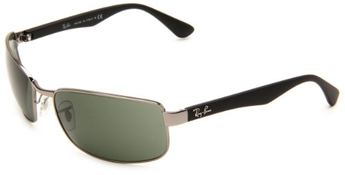 Ray Ban Men's Rb3478 Gunmetal Frame/Green Lens Metal Sunglasses, 63mm