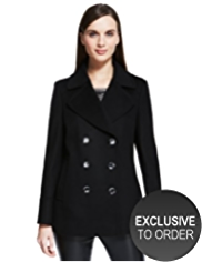 Autograph Double Breasted Coat with Cashmere