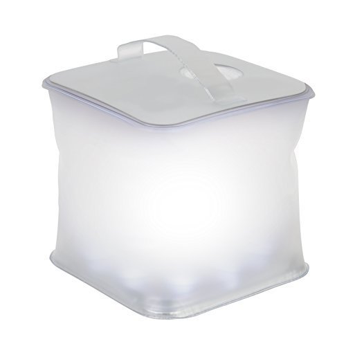 Ivation Inflatable Cube Solar Lantern, Waterproof IPX7 10-LED w/3 Light Modes - Charges in Direct Sunlight & Requires No Batteries