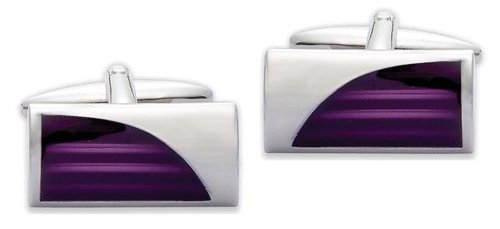 Code Red Base Metal Rhodium Plated With Purple Enamel Cufflinks