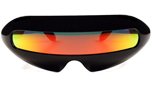Futuristic Cyclops Mirror Single Lens Oval Sunglasses