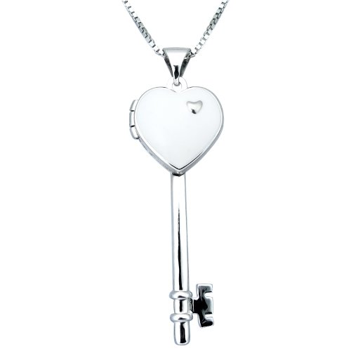 Sterling Silver White Enamel Heart Key Pendant Necklace