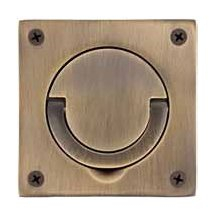 Baldwin 0397030 3-1/2 Inch x 3-1/2 Inch Solid Brass Flush Ring Pull, Polished Brass