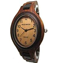 Tense Natural Solid Dark Sandalwood Ladies Hypo-allergenic Wood Watch L7301SD