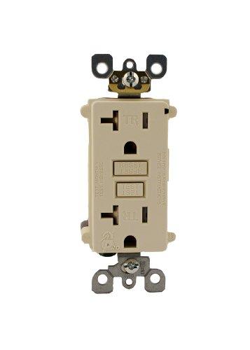 Leviton T7899-KT 20 Amp, 125 Volt, Tamper Resistant SmartlockPro Duplex GFCI Outlet, Wallplate sold separately, Light Almond