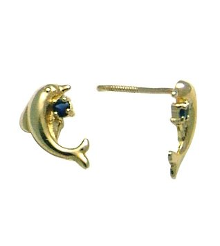 14K Yellow DOLPHIN BABY SCREW Earring (blue)