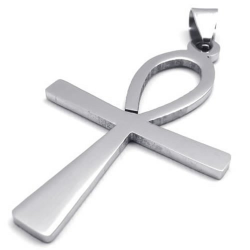 """18"""" KONOV Jewelry Stainless Steel Egyptian Ankh Cross Mens Womens Pendant Necklace, 18 inch Chain"""