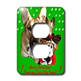 Sandy Mertens Christmas Dog Designs - Christmas German Shepherd and Friend - Light Switch Covers - 2 plug outlet cover ~ 3dRose