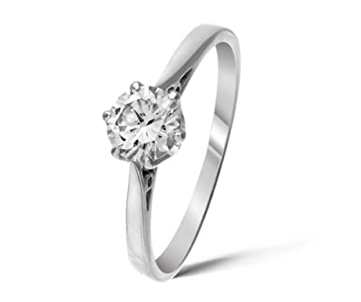 Certified Classical 925 Sterling Silver Ladies Solitaire Engagement Diamond Ring Brilliant Cut 0.50 Carat HI-I3