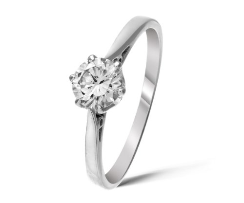 Certified Classical 925 Sterling Silver Ladies Solitaire Engagement Diamond Ring Brilliant Cut 0.50 Carat HI-I1 Size L