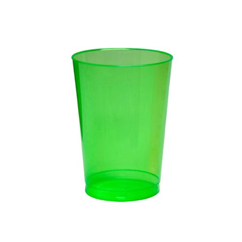 Party Essentials Hard Plastic 10-Ounce Party Cups and Tall Tumblers, Neon Green, 25-Count