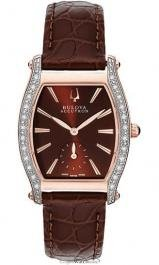 Bulova Accutron Saleya Diamond Brown Leather Ladies Watch 65R106