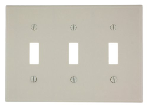 Leviton 78011 3-Gang Toggle Device Switch Wallplate, Standard Size, Thermoset, Device Mount, Light Almond