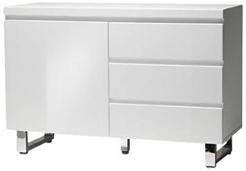 Robas Lund Sideboard Kommode Sydney Hochglanz weiß verchromt 111 x 74 x 42 cm 48903W1