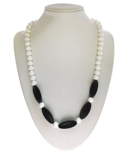 "Silli Me Starbursts - 21"" Shorter-Length Teething or Dress-Up Necklace Starfruit Shaped Beads for Baby to Chew (Black)"