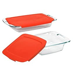 Pyrex 4 Piece Bakeware Set with Red Plastic Cover