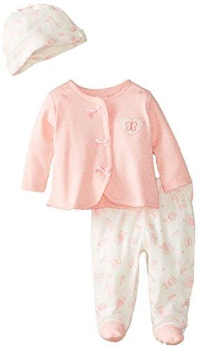 Vitamins Baby Baby-Girls Newborn Friends 3 Piece Cardigan Pant Set, Pink, New Born