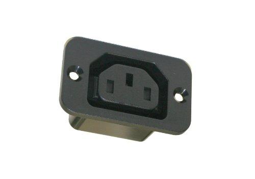 Interpower 83011220 Iec 60320 Sheet F Screw Mount Outlet, Iec 60320 Sheet F Socket Type, Black, 10A/15A Rating, 250Vac Rating