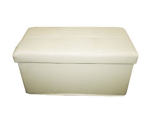 Faux Leather Ottoman Storage Blanket Box Cream