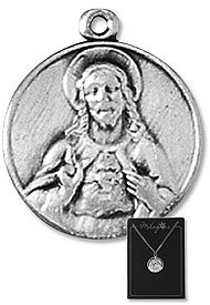 Scapular Jesus Christ Patron Saint, 3PK Lot Pewter Medals with 18
