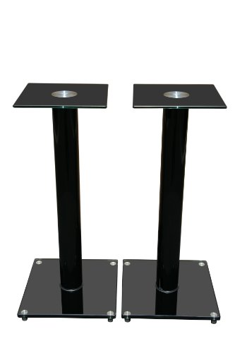 Mount-It! Premium Aluminum And Glass Speaker Stands For Home Theater Satellite Speakers And For Bookshelf Speakers (Black)