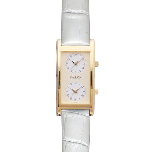 Avalon Unisex Gold-Tone World Traveler Dual Time Zone White Strap Watch # 7077W