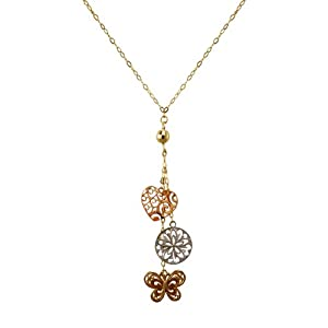 Duragold 14k Tri-Color Heart Butterfly Disc Lariat Necklace, 17