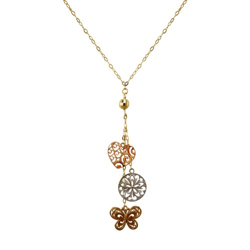 14k Tri-Color Heart Butterfly Disc Lariat Necklace, 17