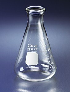 PYREX 1L Narrow Mouth Erlenmeyer Flasks with Heavy Duty Rim, Ea