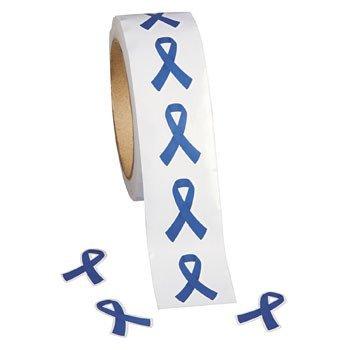 500 Blue Awareness Ribbon Stickers