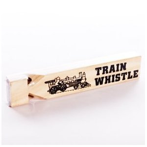 1 Dozen-Wooden Train Whistles- 7 Inches