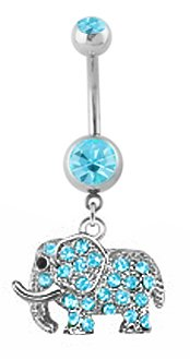 Aqua Lt Blue Paved Gem Elephant Dangle Belly Button Navel Piercing Bar Body Jewelry 14G