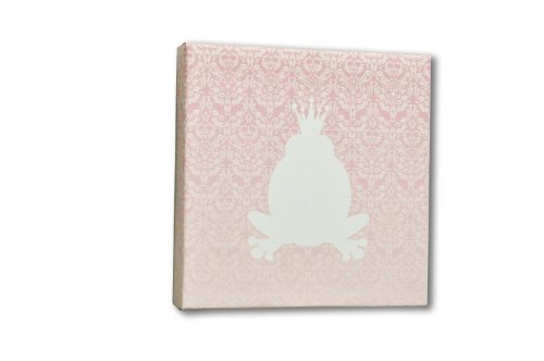 Homeworks Etc Prince Frog Canvas Wall Art, Pink/White - 1