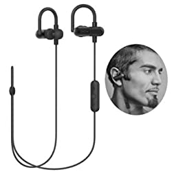 [Upgrade QY8] QY11 Bluetooth Headphones, Wireless Bluetooth V4.1 Stereo Running Headset Sweatproof QCY APT-X In-Ear Sports Earbuds Earphones Built-in Microphone W/ Memory Metal Ear Hooks-Black