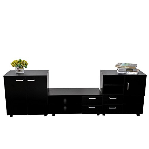 Homcom Living Room Mobile 3 Piece Trio Furniture Set Tv Cabinet Besides Storage Chest Black