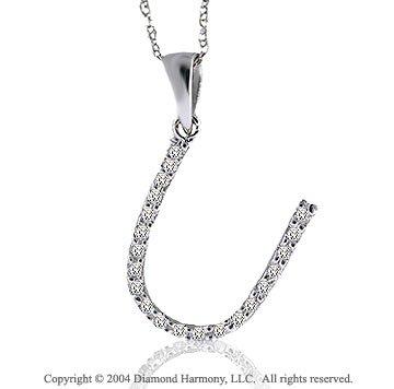 14k White Gold Large Casual Fun Diamond ^U^ Initial Pendant