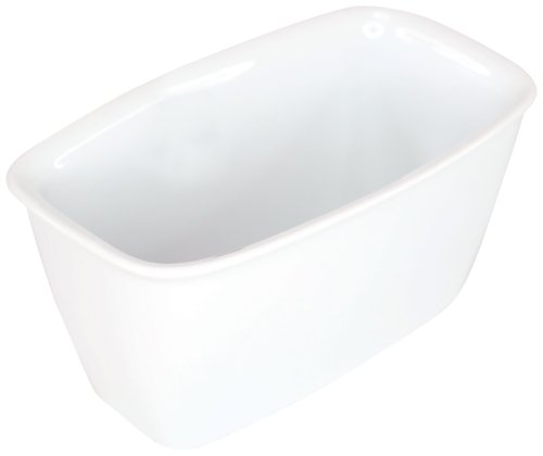 Housewares International 24-Ounce Porcelain Bakeware Blue Harbor Rectangle Baker/Ramekin, Super White