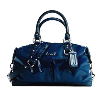 Coach Patent Leather Ashley Convertiable Duffle Satchel Handbag Bag Purse 15445 Cobalt.