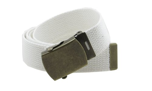 """Canvas Web Belt Military Style with Antique Brass Buckle and Tip 50"""" Long (White)"""