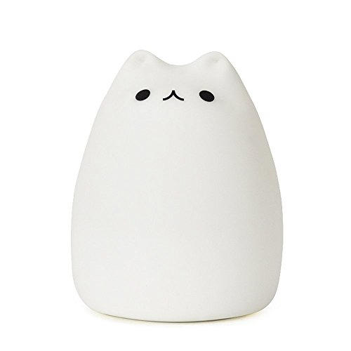 GUO Portable LED Children Night Light Kids Silicone Cat Lamp Warm White &7-Color Breathing Dual Light Modes, USB Rechargeable Lighting,Sensitive Tap Control for Baby Adults Bedroom (Portable Night Lights For Kids compare prices)