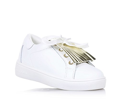 MICHAEL KORS - Scarpa bianca stringata in pelle, dallo stile unico e sempre alla moda, con logo metallico frontale e posteriore, frangetta dorata decorativa, Bambina, Ragazza-36