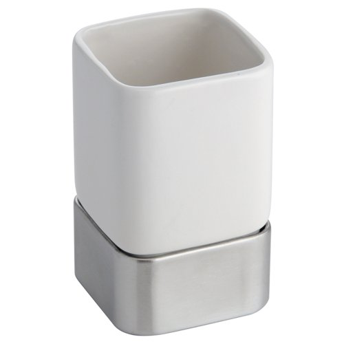Interdesign gia tumbler cup for bathroom vanity for White bathroom tumbler