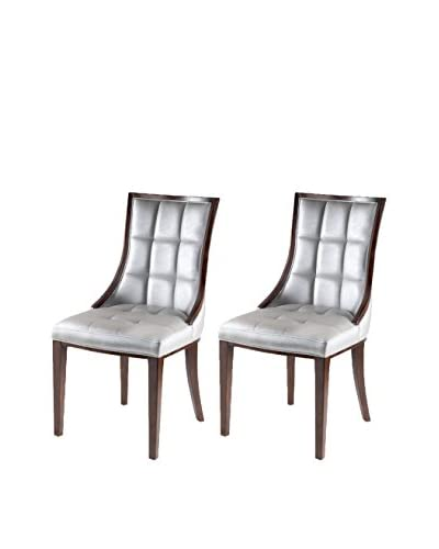 International Design 5th Ave Set of 2 Dining Chairs, Silver