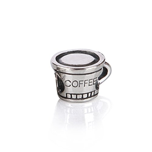 Bling Jewelry Coffee Cup 925 Sterling Silver Charm Bead Troll Chamilia Pandora Compatible