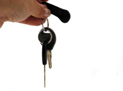 Hand Holding Two Car Keys and a Safety Key - 18