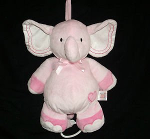 Carter's Just One Year Musical Pink Elephant Crib Toy Plush - 1