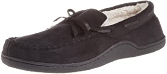 Isotoner Men's Microsuede Boater Moc Slipper, Black, Medium